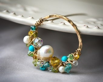 Freeform Wire Wrapped Gold Filled and Brass Turquoise Freshwater Pear Lariat