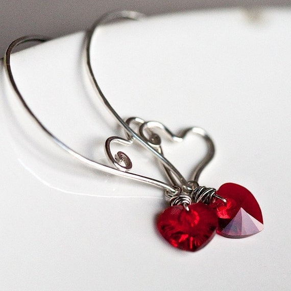 Heart Within - Sterling Wire Sculpted Hoops with Swarovski Crystal Hearts