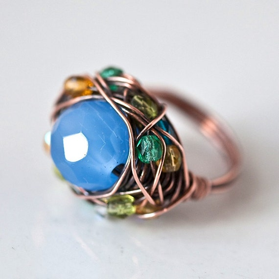 Blue Cat's Eye Bead Copper Wire Wrapped Handmade Rustic Ring