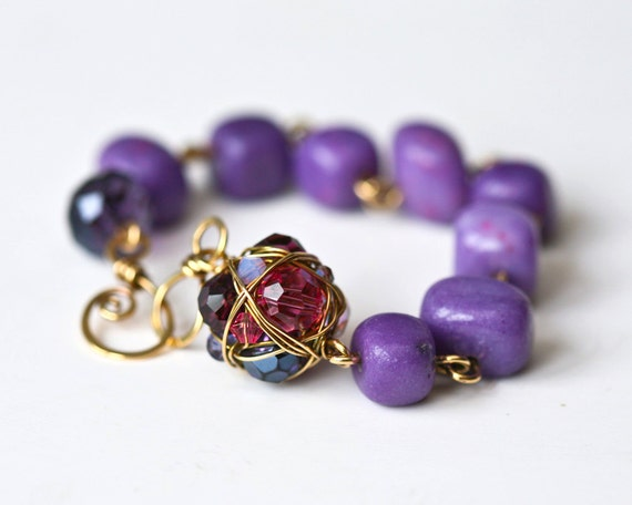 Purple Pebbles Brass Wire Wrapped Bracelet