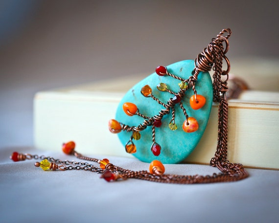 Autumn Sky - Wire Wrapped Turquoise and Copper Pendant