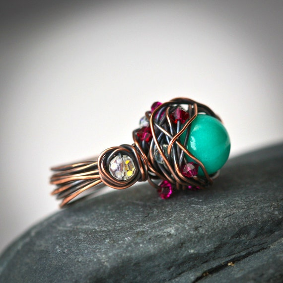 Precious Nest - Green Stone Bead Copper Wire Wrapped Handmade Rustic Ring