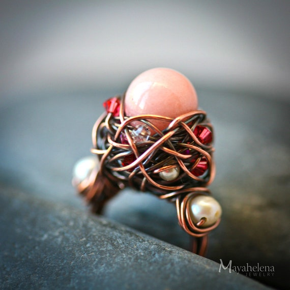 Precious Nest - Pale Pink Stone Copper Wire Wrapped Handmade Rustic Ring