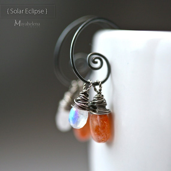 Solar Eclipse - Sunstone & Moonstone Wire Wrapped Smooth Briolette Blackened Sterling Silver Hoop Earrings