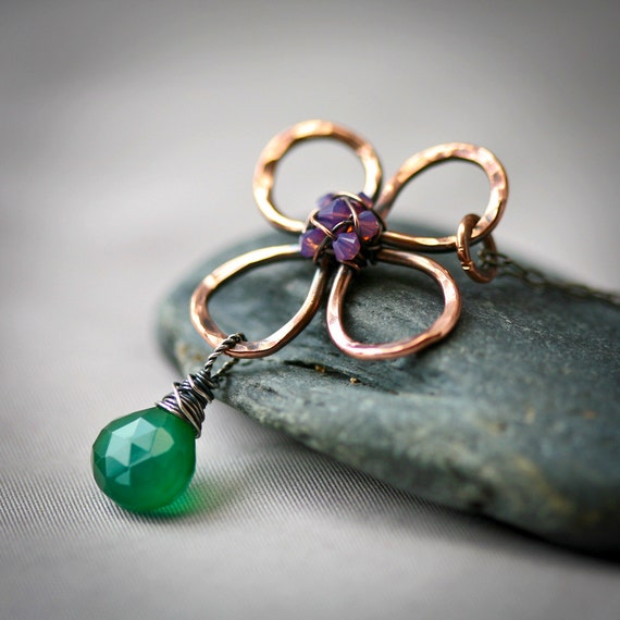 Hammered Copper Wire Daisy Handmade Sterling Silver Pendant with Fuchsia Crystals and Emerald Green Chalcedony Briolette