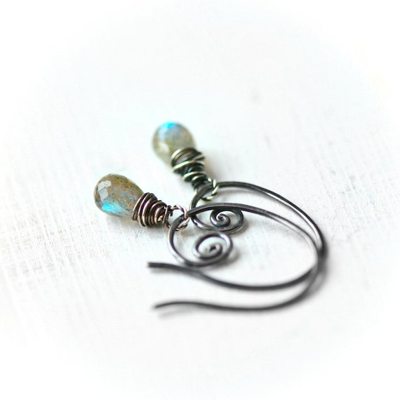 Small Labradorite Briolette Sterling Silver Earrings