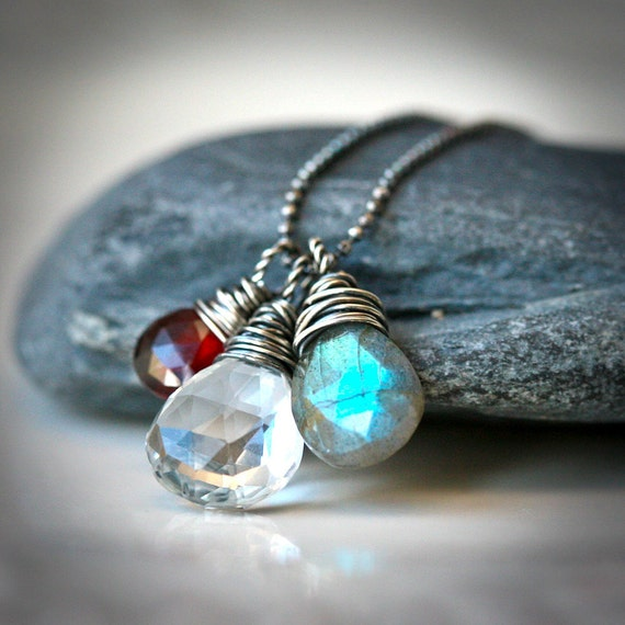 Gemstone Trio - Clear Quartz, Labradorite and Red Garnet Sterling Silver Wire Wrapped Necklace
