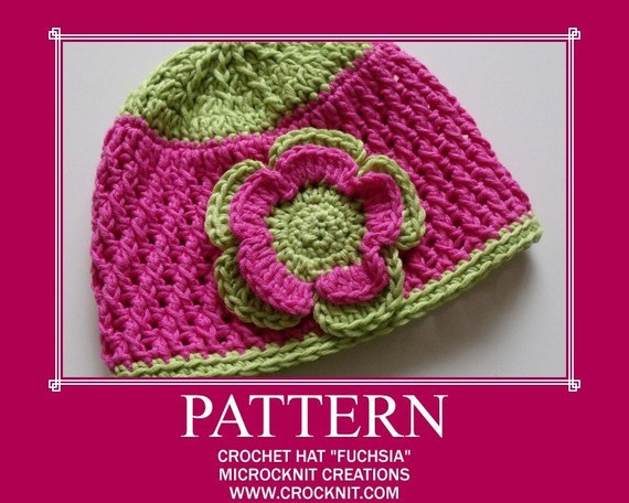 FUCHSIA Crochet Hat PATTERN baby girl Instant pdf download