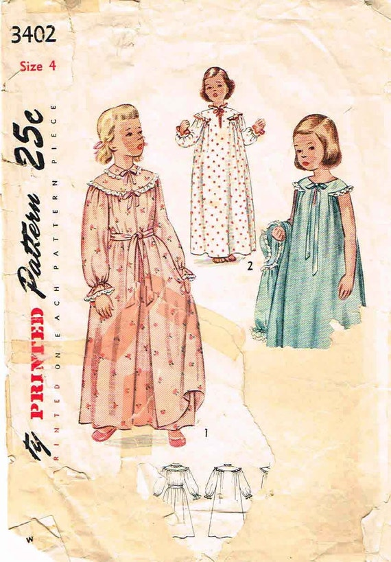 Vintage 50s Simplicity Girls Nightgown and Robe Pattern No. 3402 Size 4