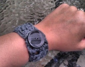Ready to Ship - Fun grey slate black custom crochet cuff with beautiful charcoal grey button rock spring soft bracelet jewelry accessories