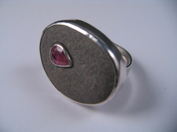 Pink Tourmaline Pebble Ring, Original design by Marc Gounard of Sausalito, CA Sterling Silver