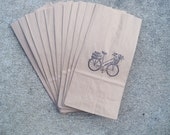 Brown Paper Lunchbag or Gift Bag Set of 10 Vintage Shabby Chic Bicycle