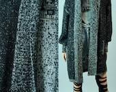 vintage oversized slouchy GREY n BLACK nubbed cardigan sweater coat