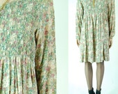 vintage 90s floral babydoll mini dress. grunge. slouchy