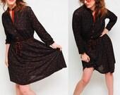 SALE vintage 70s BIRDS DRESS. brown and black. semi sheer m\/l