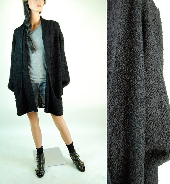 vintage BLACK NUBBED LONG SWEATER COAT