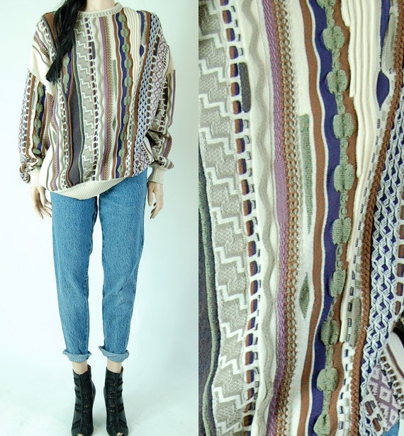 vintage unisex CHUNKY KNIT woven abstract 80s oversized sweater