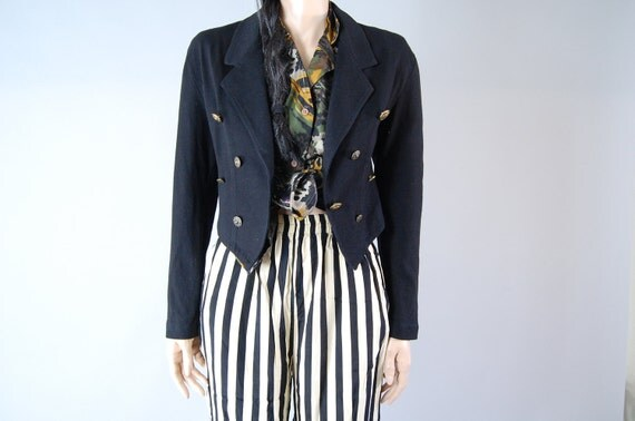 vintage 80s 90s cropped preppy NAUTICAL JACKET. gold buttons. s/m/l