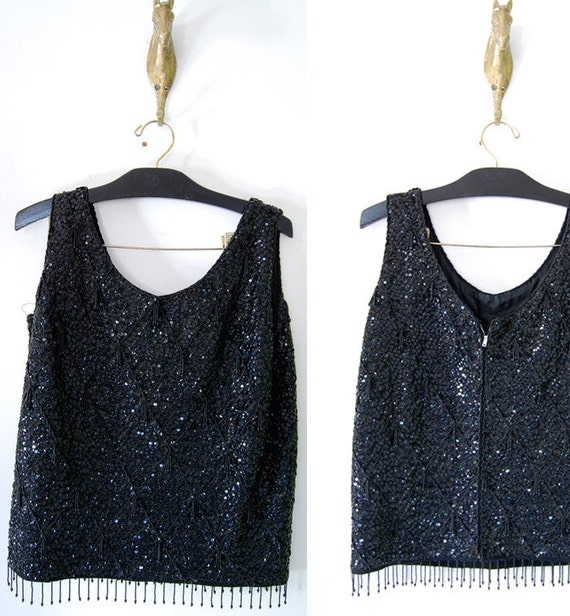 vintage 70s glam cocktail BLACK SEQUIN TANK m/l