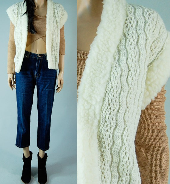 vitage 70s CREME CHUNKY VEST thick bohemian style onesize