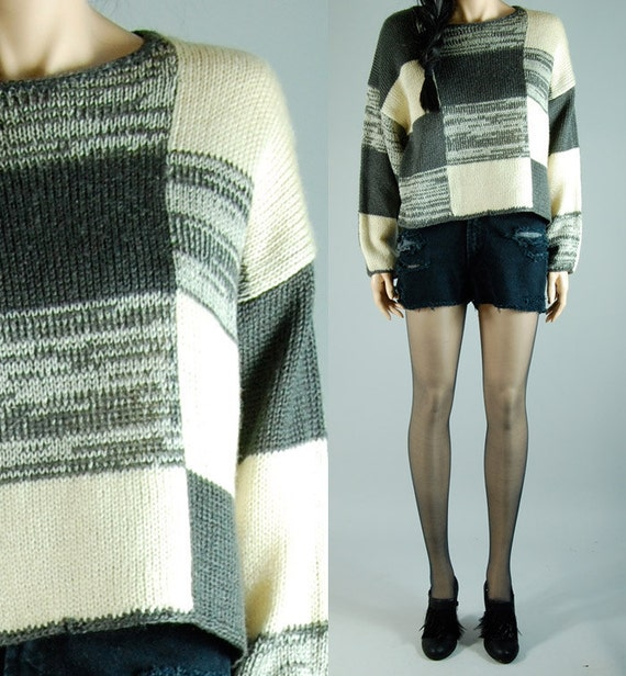 vintage 80s colorblock CHUNKY KNIT SWEATER gray cropped s/m/l