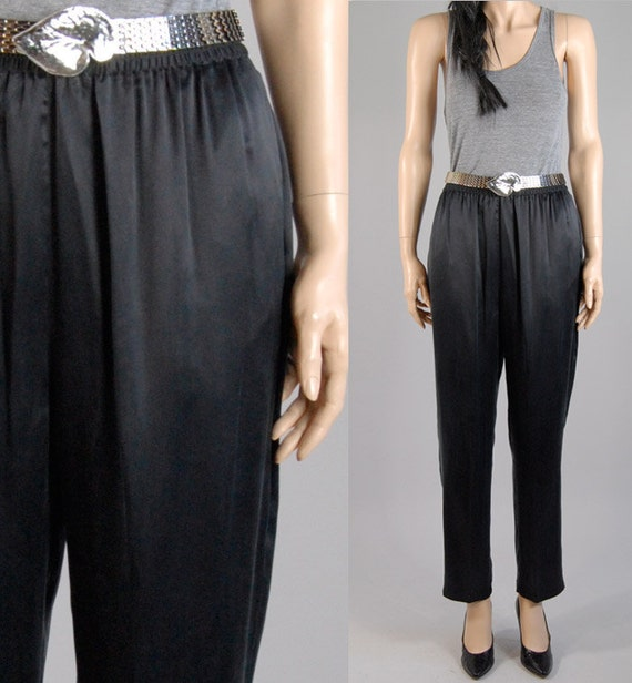vintage 80s 90s black SILK HAREM TROUSERS pants high waisted s/m