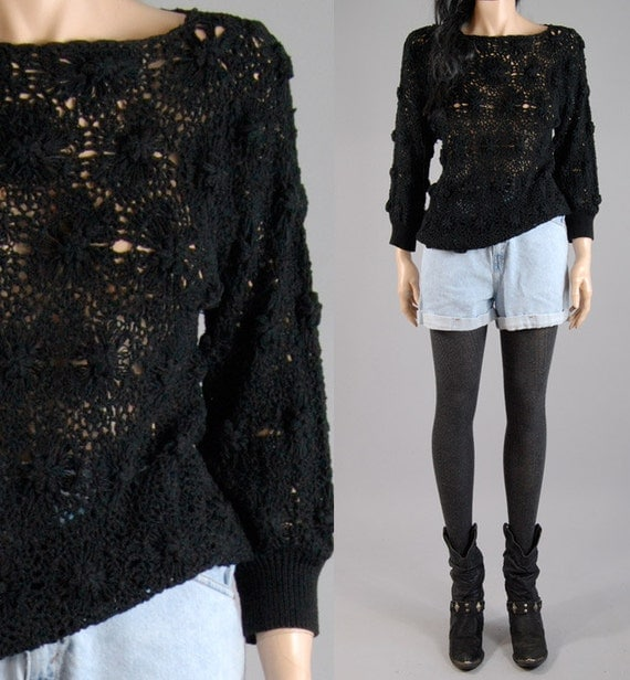 vintage 80s black hand knit CHUNKY KNIT SWEATER floral design s/m