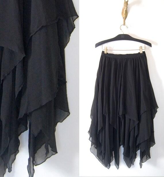 vintage 80s black full TIER SILK SKIRT semi sheer small/medium