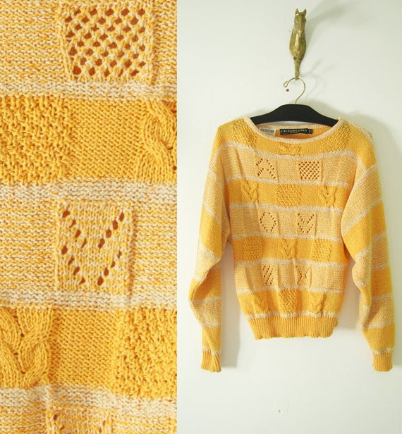 vintage 80s canary yellow ABSTRACT KNIT TOP slouchy fit womens s/m