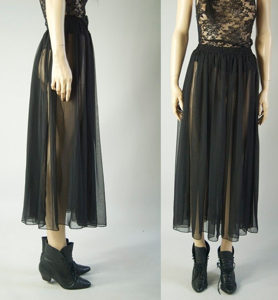 vintage 90s black pleated sheer maxi skirt by sheheartsvintage