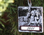 Three Personalized Wooden Photo Ornaments 2 inch