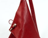 Red Leather Triangle Street Bag