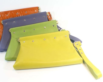 Leather Wristlet Clutch Purse (YELLOW)