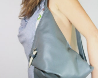 Grey Triangle Leather Street Bag