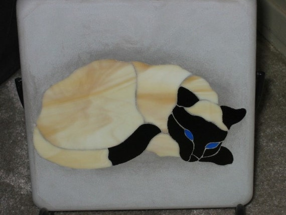 Siamese Cat Garden Art Stained Glass Stepping Stone And Plaque