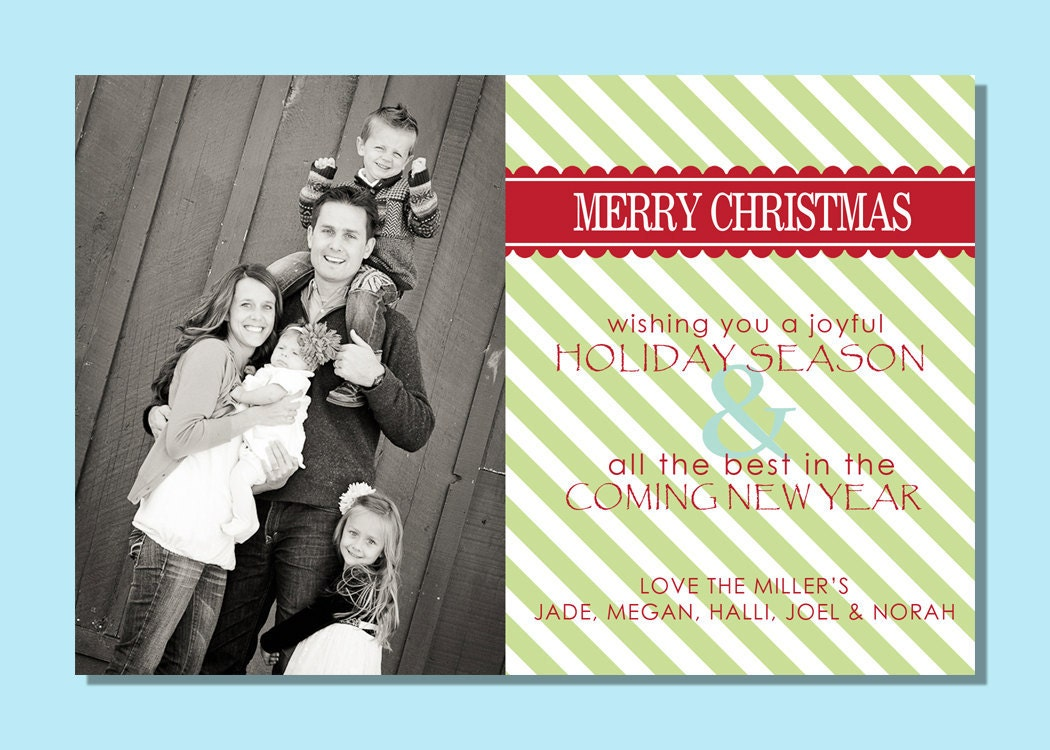 green stipe 4x6 christmas card template jpg print by happyhippos. Black Bedroom Furniture Sets. Home Design Ideas