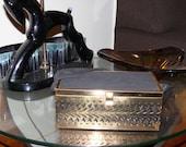 1940s or 1950s Vintage Unique Gold Brass Box Purse Rockabilly Pinup