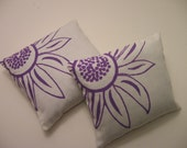 Lavender Sachets-Screen Printed  Purple Daisy Set of Two