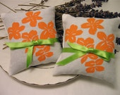 Wedding Lavender Sachets-Screen Printed - Tropical Flowers- Set of Two