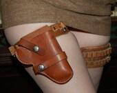 NOW RESERVED For Wyte Phantom - Steampunk Wild Wild West Tan Leather Holster and Bullet Leg Garter Belt.