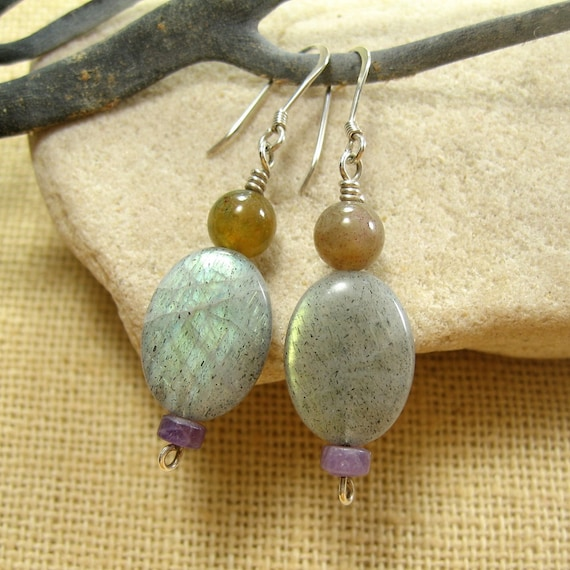 Labradorite Gemstone Earrings. Sterling Silver. Women's Gemstone Jewelry