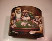 Poker Playing Dogs Decoupage Cuff Bracelet