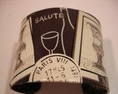 Salute Wine Decoupage Cuff Bracelet