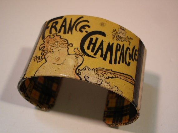 RESERVED...French Champagne Vintage Poster Decoupage Cuff Bracelet