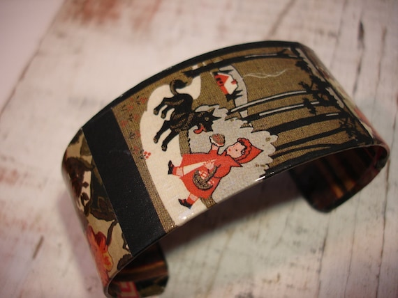 Little Red Riding Hood Fairy Tale Decoupage Cuff Bracelet