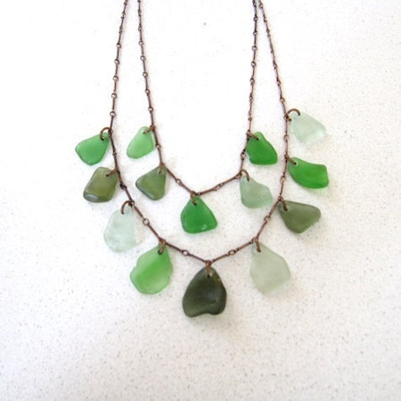 Double Sea Glass Necklace in Green