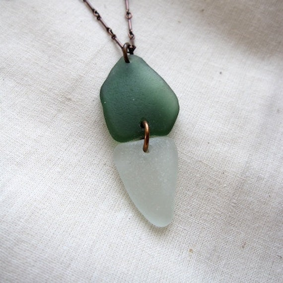 """Sea-Glass Necklace Forest-Green Soft Green 21"""" Oxidized Copper Chain"""