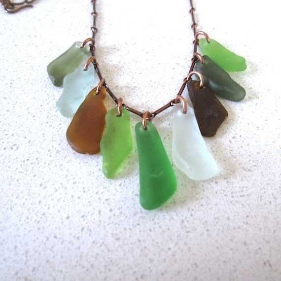 Sea-Glass-necklace, multiple-colors on an oxidized copper chain