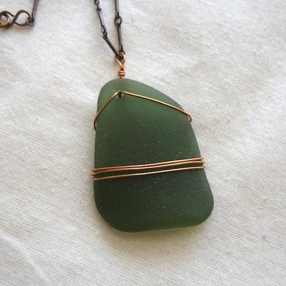 Long Forest Green Sea Glass Pendant