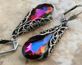 Crystal VOLCANO Swarovski  Teardrop Earrings Antiqued Silver or Gold
